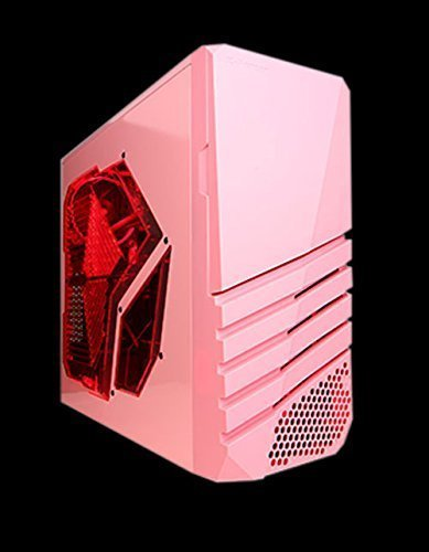 Apevia X-Pioneer-PK ATX Mid Tower Gaming Case w/Large Red Tinted Side Window, 1 x 120mm Red LED Fan(Can Install up to 6 Fans), Top 2 x USB3.0 + 2 x HD Audio Ports, Fits Video Card up to 13'' - Pink by Apevia