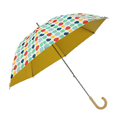 コルコ ショートスライド式 全5柄 長傘 手開き 日傘/晴雨兼用 ハッピーアップル 8本骨 50cm 中棒伸縮傘 UVカット 木製ハンドル 81055 B01CQHR9BW ハッピーアップル ハッピーアップル