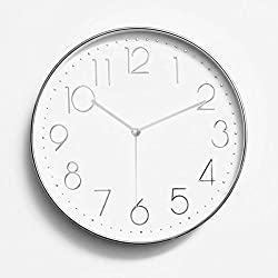 Foxtop 12 Silent Non-ticking Universal Quartz Movement Wall Clock-Large Indoor Outdoor Wall Clocks- Plastic Frame Glass Cover (Silver Arabic Numeral)
