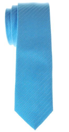 Retreez Micro Herringbone Striped Woven Microfiber Skinny Tie - Light Blue
