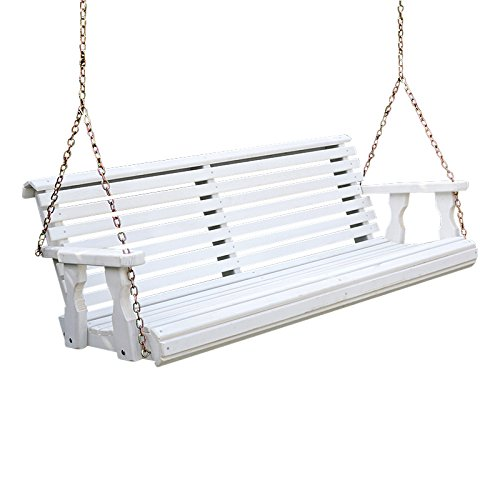 - Amish Heavy Duty 800 Lb Roll Back Treated Porch Swing with Hanging Chains (5 Foot, Semi-Solid White Stain)