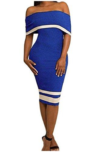 Le Bustier De Femmes Coolred De L'épaule Maigre Mini Robe Moulante Chic, Bleu