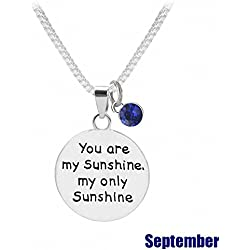 """TISDA Birthstone Crystals Necklace,""""You are my Sunshine my only Sunshine"""" Necklace 18"""" chain (September)"""