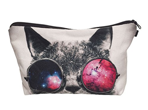 StylesILove Cute Graphic Pouch Travel Case Cosmetic Makeup Bag (Cosmo Kitty)