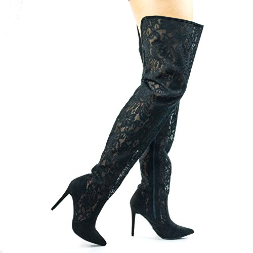 Thigh High / Over The Knee High Heel Dress Boot In Solid Or Lace Black Lace