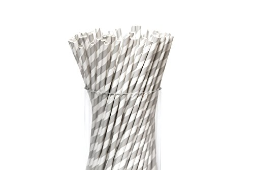 Bulk Biodegradable Paper Drinking Straws - Recyclable 100 Striped Paper Straws for Milkshake Coffee Smoothie Back to School