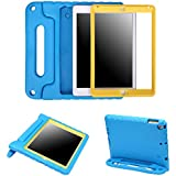 HDE Case for iPad 9.7-inch 2018 / 2017 Kids Shockproof Bumper Hard Cover Handle Stand w/ Built in Screen Protector for New Apple Education iPad 9.7 Inch (6th Gen) / 5th Generation iPad 9.7 Blue Yellow