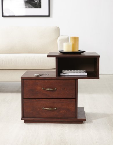 ioHOMES Marc Accent Side Table with Storage Drawer, Vintage Walnut