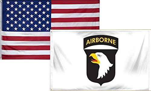 - ALBATROS 3 ft x 5 ft USA American with 101st Airborne White Flag (2 Pack) for Home and Parades, Official Party, All Weather Indoors Outdoors