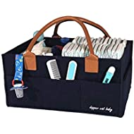 Baby Diaper Caddy Organizer – Large, Blue, Felt Diaper Caddy for Boy, Girl or Newborn – Portable Car Travel Bag – Baby Shower Gift Baskets – Storage Bin for Diapers, Wipes, Toys or Books etc.