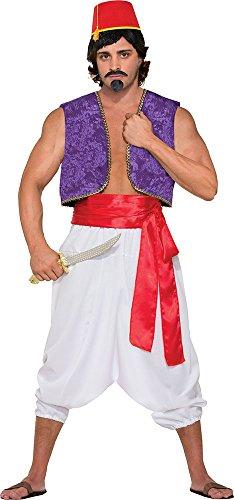 Men's Aladdin Desert Prince Fancy Dress Party Outfit Genie Vest Costume Purple - Genie Costumes Uk