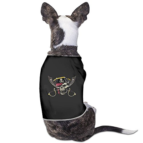 Skkoka Fashion Sleeveless Pet Supplies Dog Cat Clothes Pirate Skull Crossed Swords Pet Apparel Clothing S Black