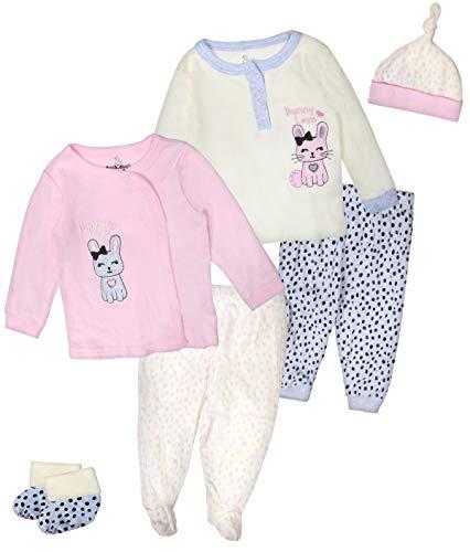 Duck Duck Goose Boys & Girls 6-Piece Cap, Shirt, and Pants Sets, Bunny, 6-9 Months'