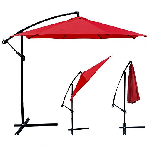 Pool Stain Red (FDW Red Patio Umbrella Offset 10' Hanging Umbrella Outdoor Market Umbrella D10)