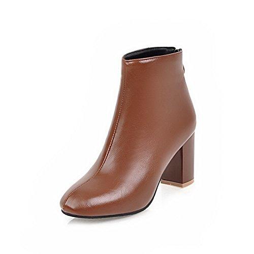 AllhqFashion Damen Rein Quadratisch Zehe Weiches Material Reißverschluss Stiefel, Schwarz, 43