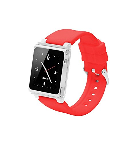 Sport Strap Smart Aluminum Metal Watch Band Wrist Kit Cover Case For Apple iPod Nano 6th Generation 8GB 16GB(Red)
