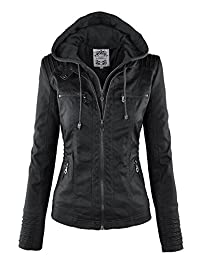 MBJ Womens Removable Hoodie Motorcyle Jacket