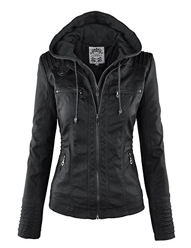 Made By Johnny WJC663 Womens Removable Hoodie Motorcyle Jacket XL Black -