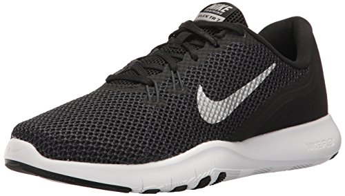 Black Ladies Trainers - NIKE Women's Flex 7 Cross Trainer, Black/Metallic Silver-Anthracite-White, 6.0 Wide US