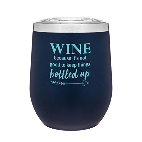 Stainless Steel 12 Ounce Stemless Wine Glass Tumbler with Lid | Double Wall Copper Vacuum Insulated | Powder Coated Novelty Drinkware | Gift Idea for Women | Adult Sippy Cup with Saying (Matte Blue)