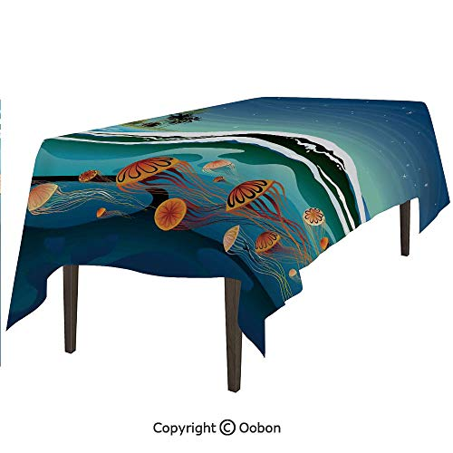 Space Decorations Tablecloth, Jellyfish in The Sea and Coconut Island Trees Waves Under Starry Night Sky, Rectangular Table Cover for Dining Room Kitchen, W90xL132 inch]()