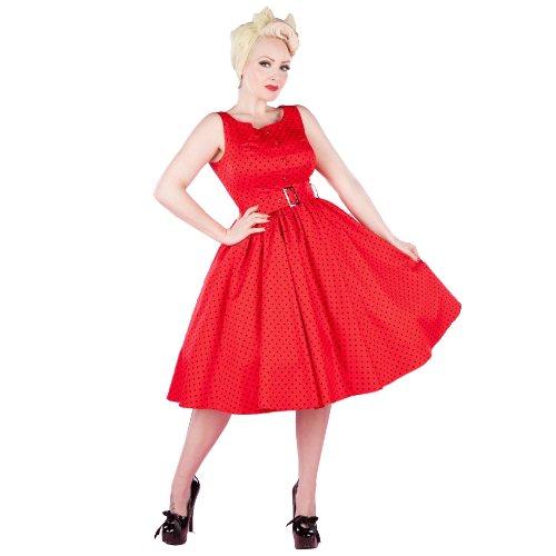Hearts & Roses London Sans Manche Point Rouge Vintage 50s Robe Soirée Excellent Qualité