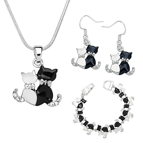 Lola Bella Gifts Crystal Kitty Cat Purrfect Pals Necklace Earrings and Bracelet Set with Gift Box