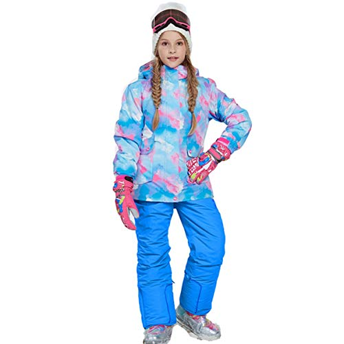 Trendy Boys Girls Winter Snowboard Skiing Parka Jacket Snow Bib Snowsuit Set Snowsuit Hooded Ski Jacket + Pants 2 Pcs Set