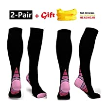 (2Pair) Compression Socks Graduated Athletic Fit for Men & Women, Prevents Calf & Shin Splints, Recovery stocking Boost Stamina, Circulation - Best for All sport, Running, Flight Travel, Nurses, Maternity Pregnancy +Free Gift