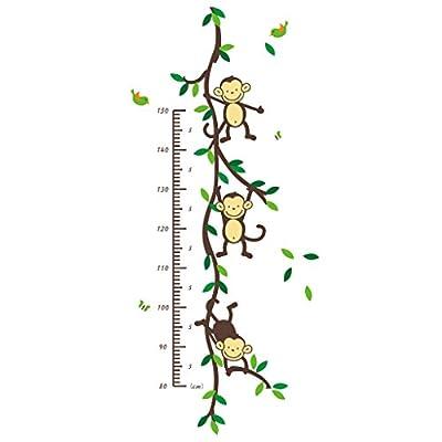 Cute Cartoon Animals Kids Height Wall Chart Baby Nursery Wall Art Sticker Tree Wall Stickers