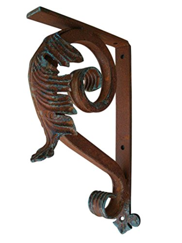 Shoreline Best Small 8''D X 13''L Iron Leaf Angle Bracket-A Heavy Duty Mantel Corbel or Other Use/Interior-Exterior-Old Copper by Shoreline Ornamental Iron