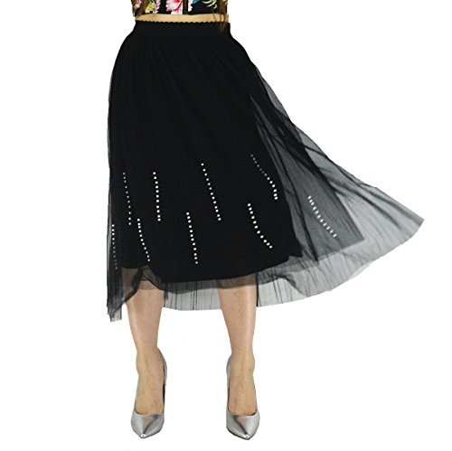 YSJ Lady's Mesh Midi Skirt 3-Layers Pleated Tea Length Princess Floral Skirts (S, Bead Black)
