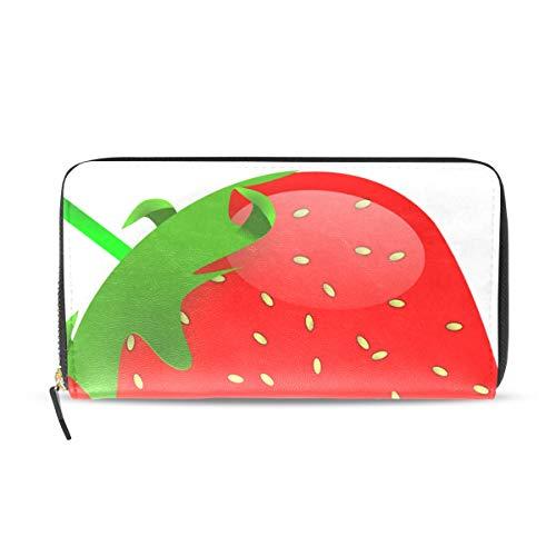 Womens Wallets Fresh Strawberry Leather Passport Wallet Change Purse Zip Handbags ()