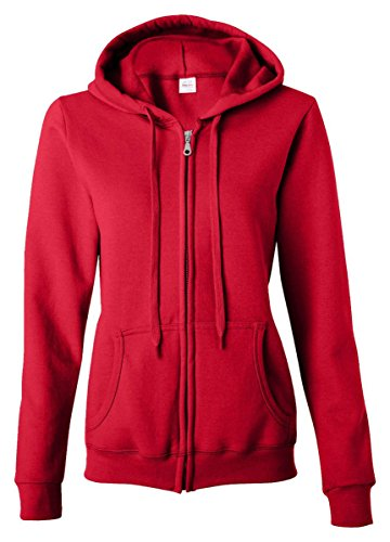 Gildan womens Heavy Blend 8 oz. 50/50 Full-Zip (Red Zipper Sweatshirt)