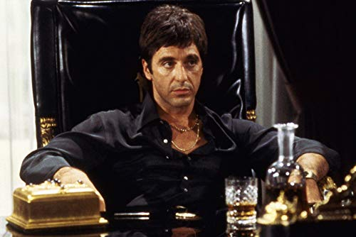 Al Pacino in Scarface in Black Shirt Seated in Chair 24x18 Poster ()