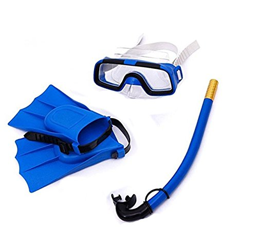 Yosoo Children Kids Swimming Diving Silicone Fins +Snorkel Scuba Eyeglasses + Mask Snorkel Silicone Set for 8-12.5 US Foot Size (Blue)