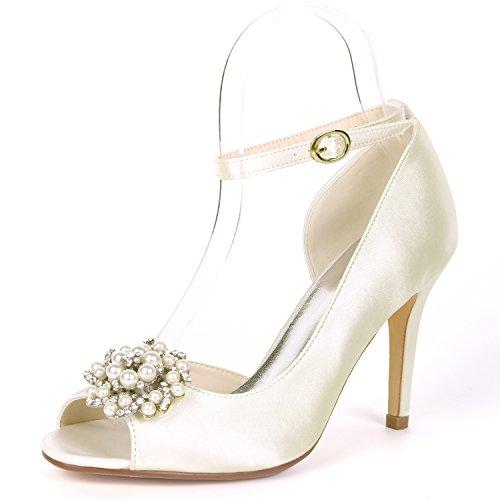 Las De Bombas Noche Mujeres Boda Zapatos L Peep yc Ivory Rebordear 9cm Hebilla Nupcial Rhinestones Satén Toe Heel vEwUqcIa