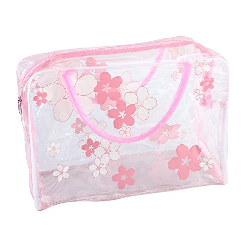 - Cinhent Bag 1PC Transparent PVC Flower Waterproof Girls Makeup Toiletry Travel Wash Cosmetic Towel Underwear Pouch New,Carry-On Luggage for Women (Random Style) (Hot Pink)