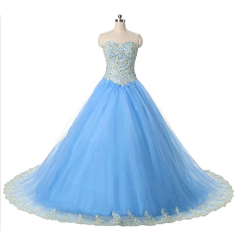 DKBridal Blue Beaded Sweetheart Appliques Up Lace Bresses Back Quinceanera Lace Gown Ball pcfpPrAWU