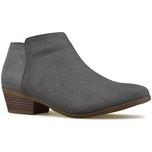 Premier Standard Women's Round Toe Faux Suede Stacked Heel Western Ankle Bootie Grey B*