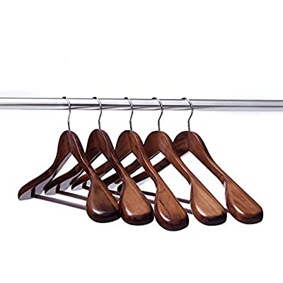 Ezihom Clothes Hangers Gugertree Wooden Suit Hangers with Extra-Wide Shoulder, Wood Coat Hangers, Pant Hangers, 5pcs/Pack