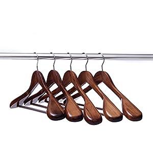 Ezihom Clothes Hangers Gugertree Wooden Suit Hangers with Extra-Wide Shoulder, Retro Finish, Wood Coat Hangers, Pant Hangers, 5pcs/Pack