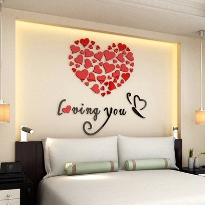 Mkono 3D Stereo Acrylic Crystal Wall Sticker Home Decal Art Mural Decoration-love heart Loving you