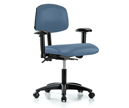 Perch Rolling Multi Task Swivel Chair for Hardwood or Tile Floors, Desk Height, Newport (Newport Wood High Chair)