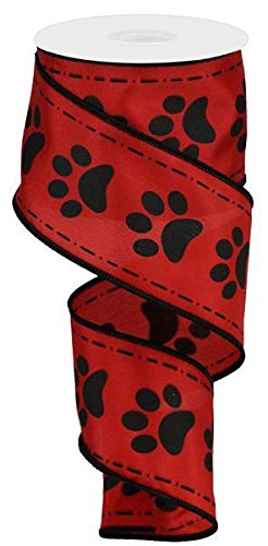 (Wired Ribbon Red and Black Paw Prints on Satin 2.5
