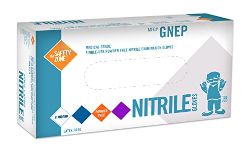 Nitrile Exam Gloves - Medical Grade, Powder Free, Latex Rubber Free, Disposable, Non Sterile, Food Safe, Indigo (purple) color, Convenient Dispenser Pack of 100, Size Large>