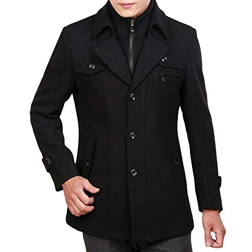 Warm Mens Dress Collar Padded Banquet Male Woolen Fleece Business Winter Black1 Coat Windbreaker Double Jacket For Loose Formal Tops Yra Uf1I6qn