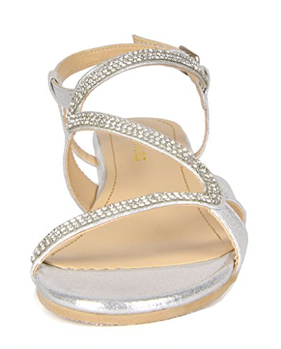 DREAM PAIRS Women's Formosa_1 Silver Low Platform Wedges Slingback Sandals Size 9 B(M) US by DREAM PAIRS (Image #3)