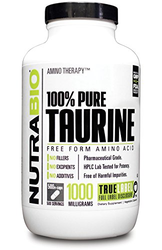 NutraBio 100% Pure Taurine (1000 mg) - 500 Vegetable Capsules