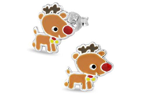 Hypoallergenic Sterling Silver Rudolph Reindeer Christmas Stud Earrings for Kids (Nickel -